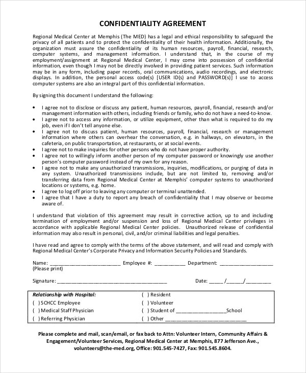 35 Confidentiality Agreement Templates Free Word PDF