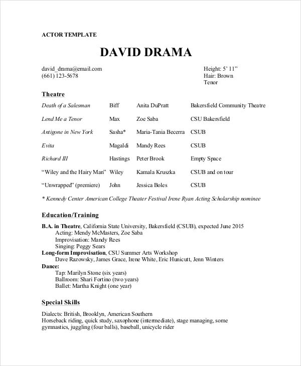example of musical theater resume