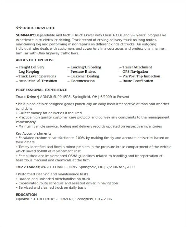 Resume For Driver Job Pdf Resume Examples Resume Template