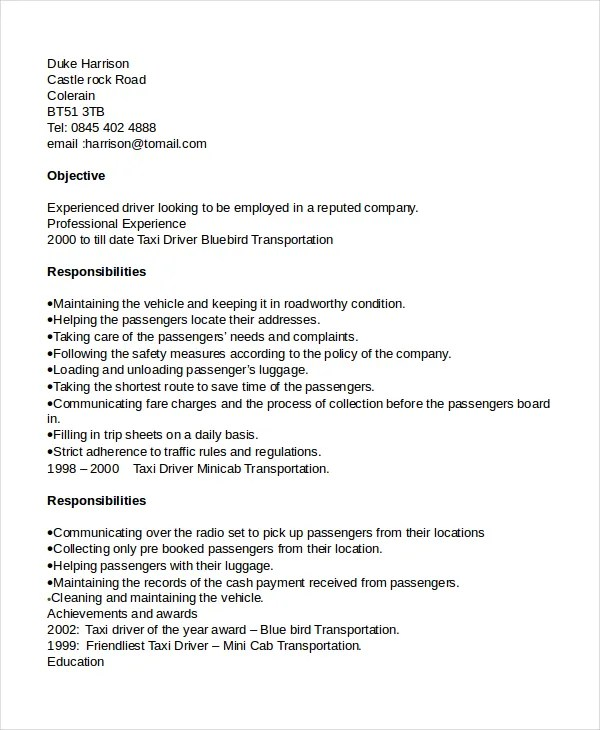 Driver Resume Template 8 Free Word PDF Document