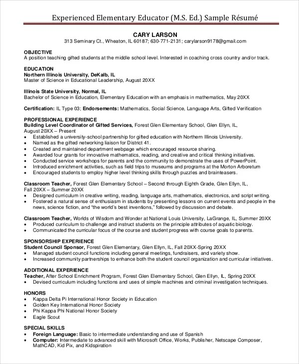 First grade teacher resume examples examples of resumes for Sample net resumes for experienced