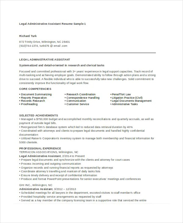 Administrative Istant Resume Example | Legal Administrative Assistant Resume Sample Resume Sample