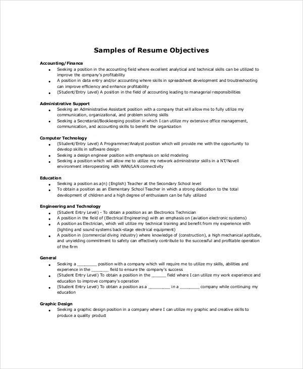 resume objectives accounting examples
