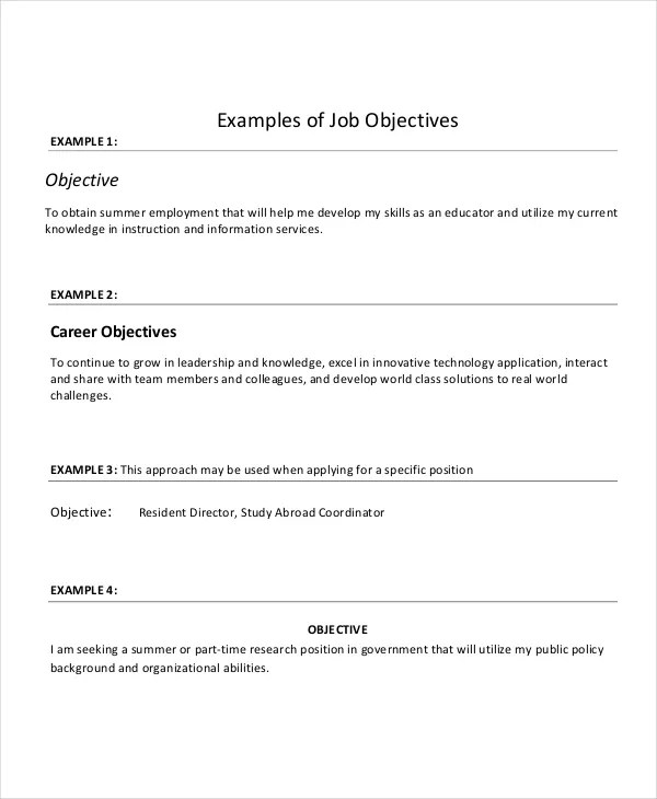 job objectives for resumes template interior design proposal
