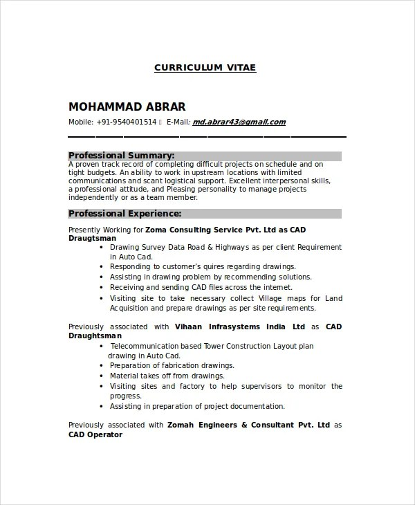 Drafter Resume Template 7 Free Word PDF Documents Download