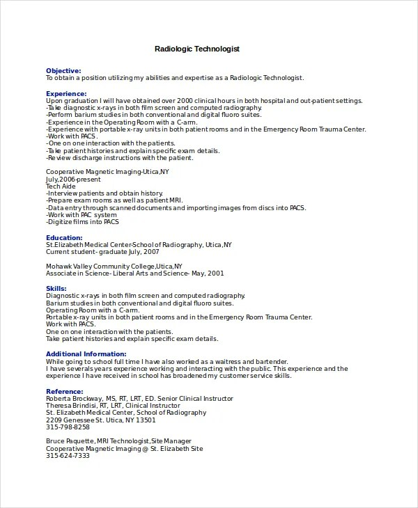 8 Radiologist Resume Templates PDF DOC Free