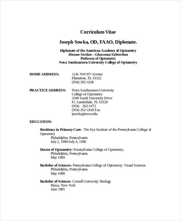 Optometrist Resume Template 7 Free Word PDF Documents