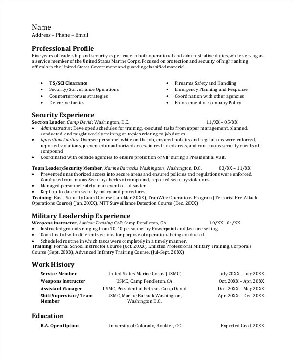Infantryman Resume Professional Infantryman Templates To Showcase