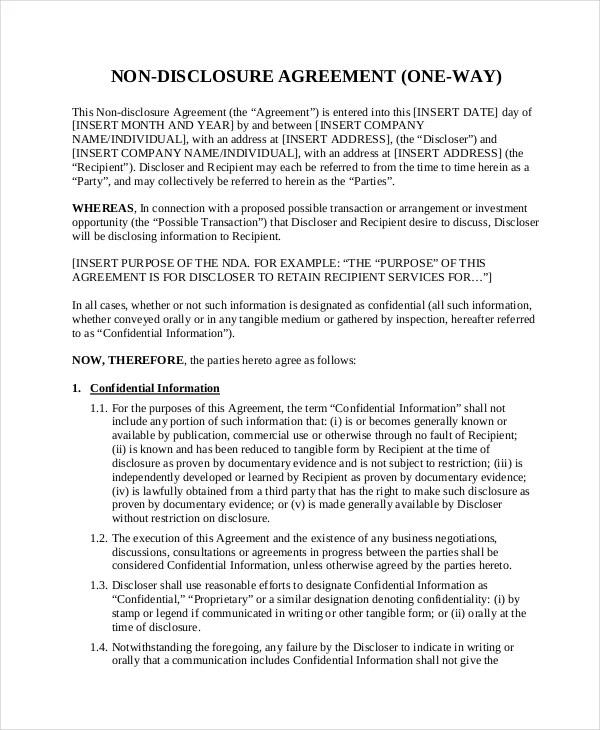 Non Disclosure Agreement Real Estate Development Create
