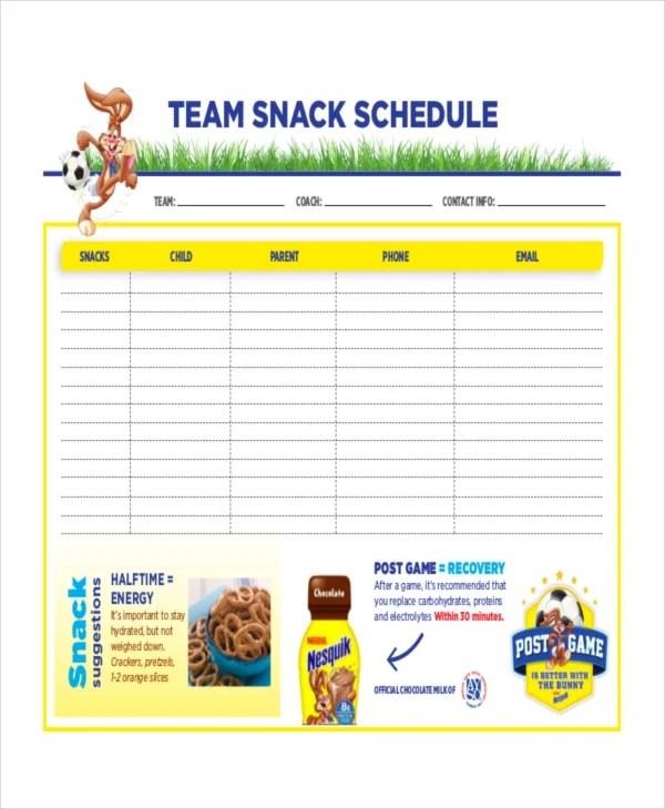 snack schedule template 7