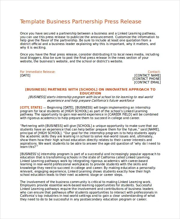 free press release template download