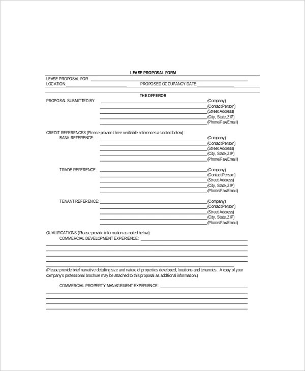 12 Lease Proposal Templates Free Sample Example