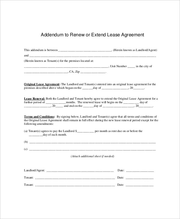 Lease Agreement Extension Letter | Docoments Ojazlink