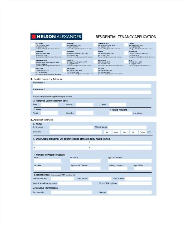 6+ Rental Application Form Templates - Free Sample, Example, Format ...