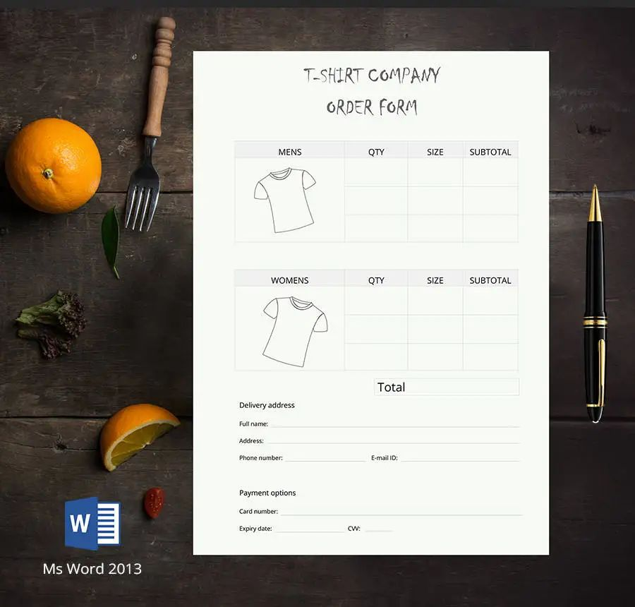 order forms template