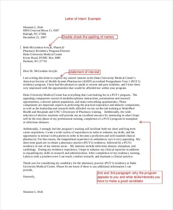 pharmacy residency letter of intent Sample Pharmacy Residency Letter Of Intent | ophion.co