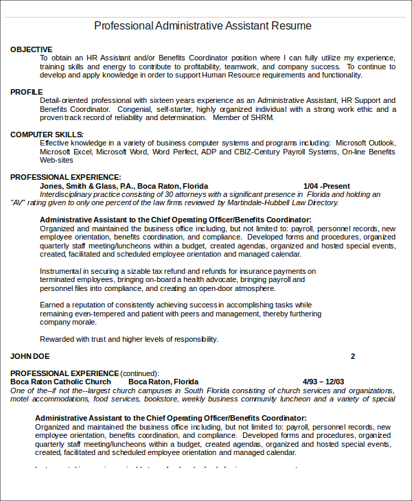 10 Administrative Assistant Resume Templates PDF DOC