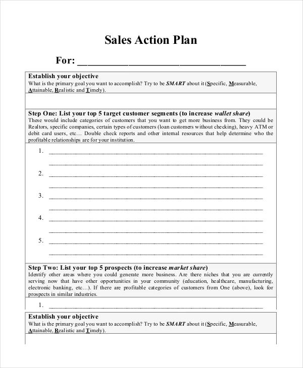 sales manager action plan template
