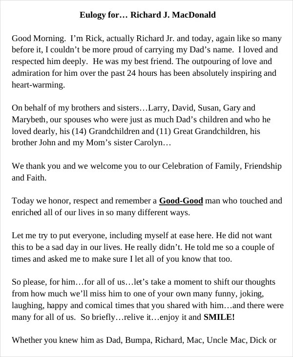 Short obituary examples free download printable for Eulogy template for father