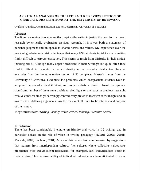 Example Of A Literature Review Essay Hospi Noiseworks Co