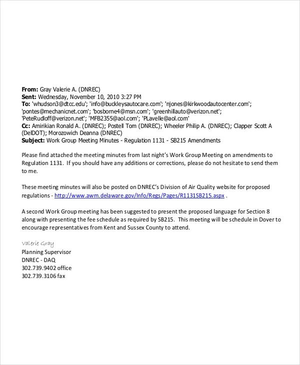 meeting minutes email sample