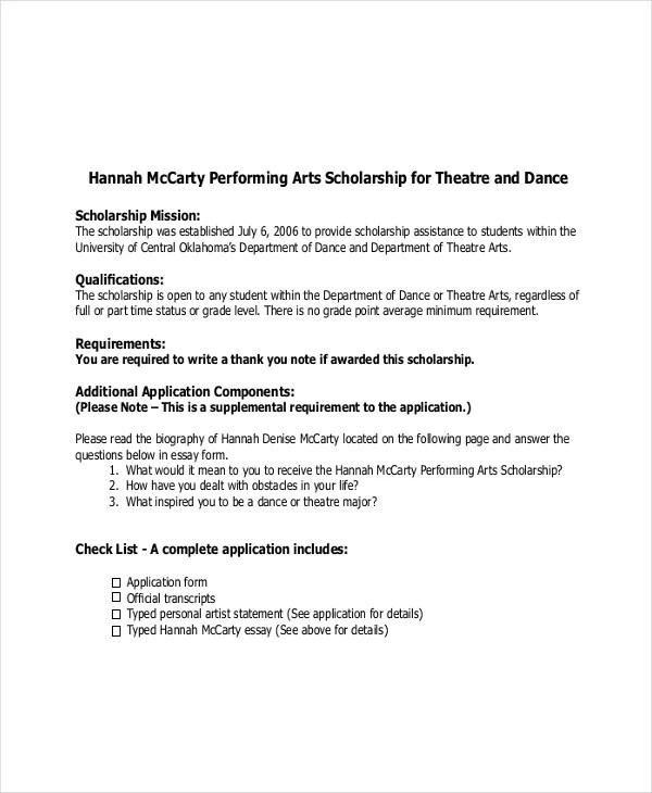 Personal statement essay help dance school