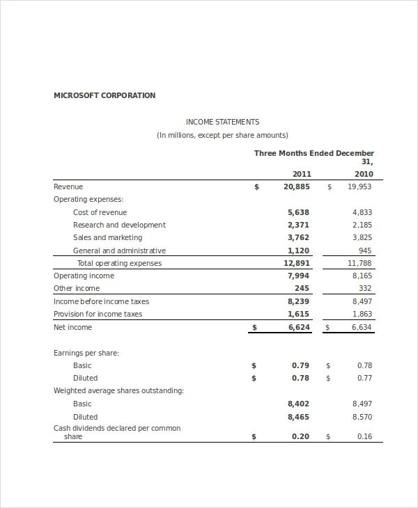 income statement template xls