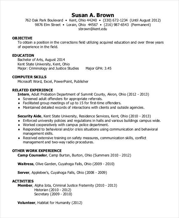 resume letter of application sample