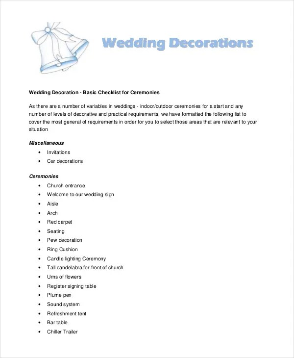 Simple Wedding Checklist  25 Free Word PDF Documents Download  Free  Premium Templates