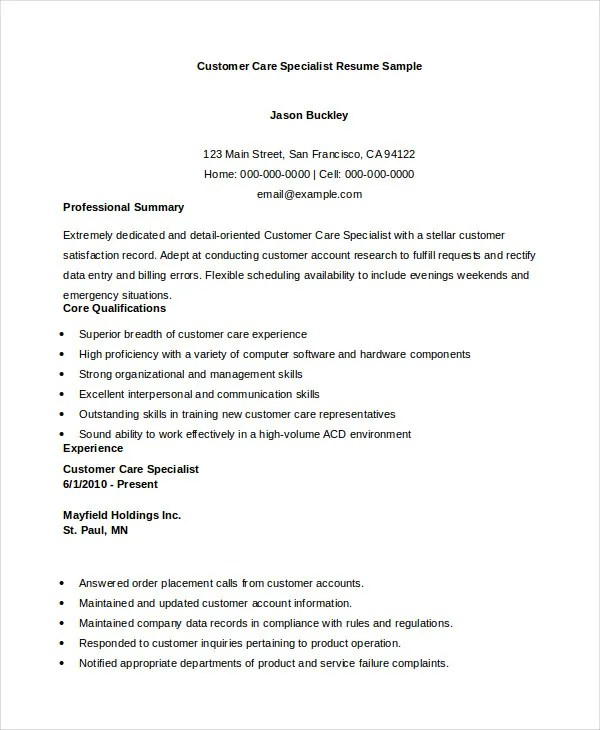 11 Customer Service Resume Templates PDF DOC Free