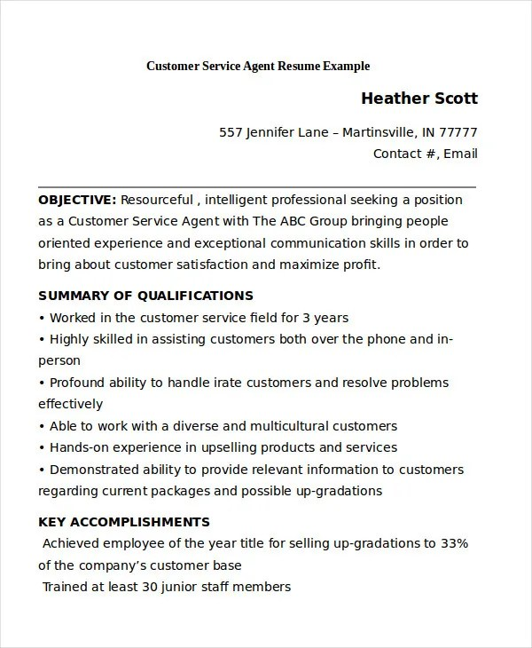 11 Customer Service Resume Templates PDF DOC Free