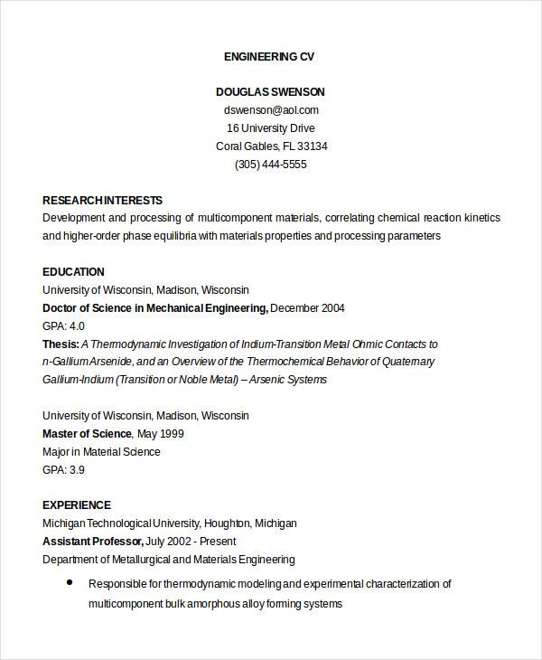 36 Sample CV Templates PDF DOC Free & Premium Templates
