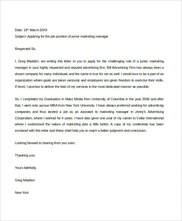 Job Application Letter  10 Free PDF Word Documents Download  Free  Premium Templates