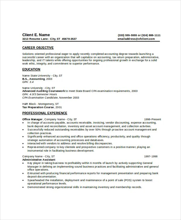 Examples Of Completed Resumes  Examples Of Resumes