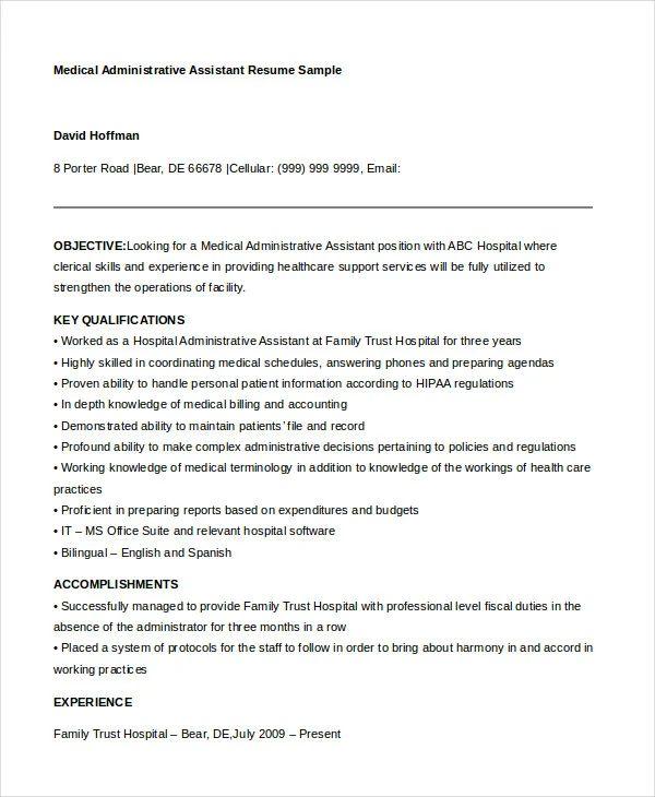 medical administrative assistant sample resume
