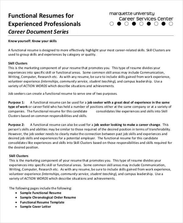 functional resume examples 2016 for experienced