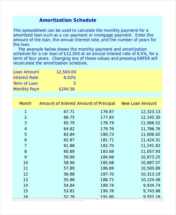 excel template amortization schedule