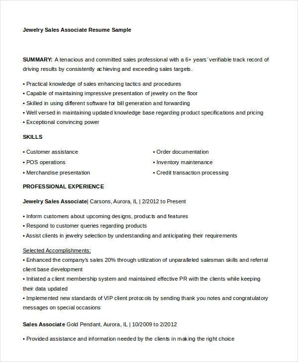 jewellery salesman resume sample
