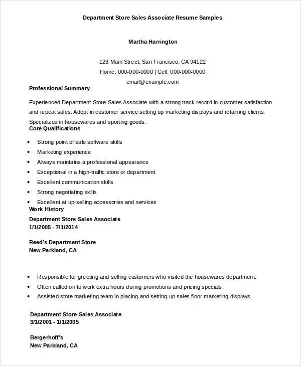 Sales Associate Resume 7 Free Sample Example Format Free