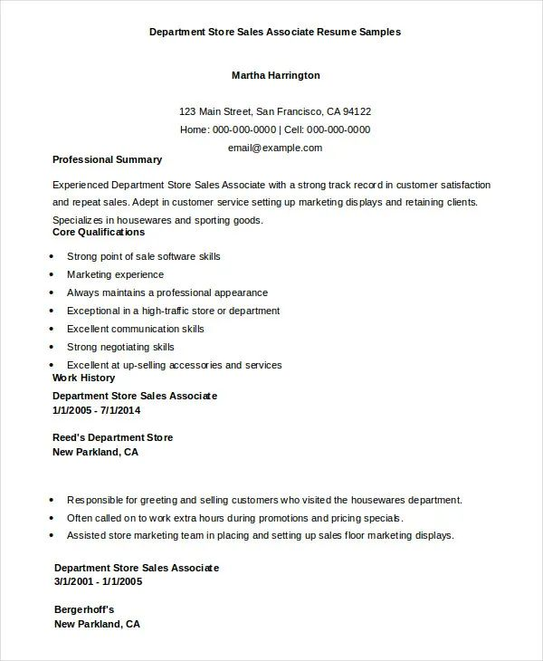 sales associate resume sample 2016