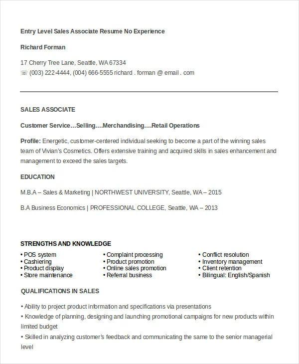 sample resume sales associate no experience