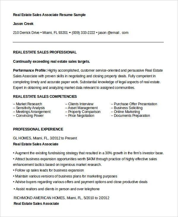real estate sales associate resume sample