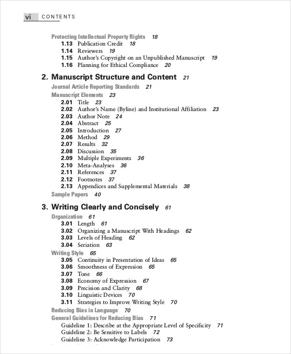 download table of contents template
