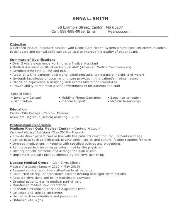 sample resume for medical assistant position