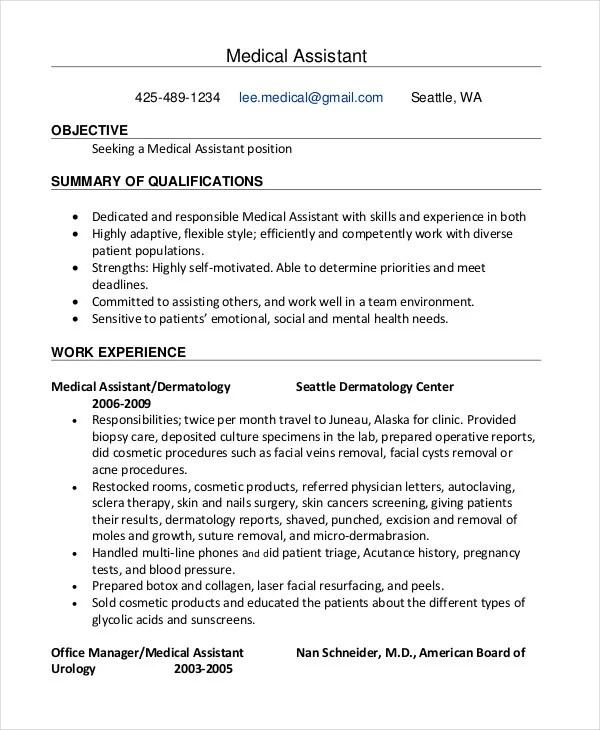 10 Medical Assistant Resume Templates  PDF DOC  Free  Premium Templates