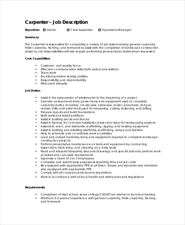 10 Carpenter Job Description Templates PDF DOC Free