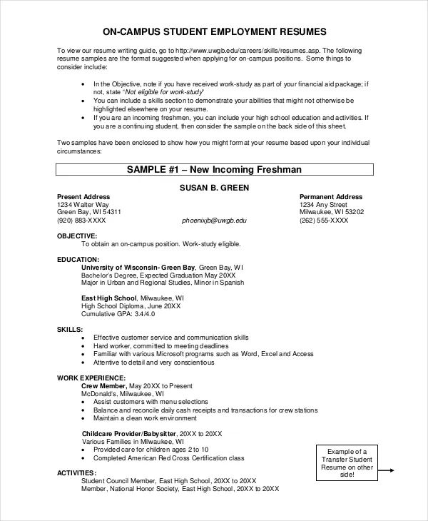 sample resume of a transfer student