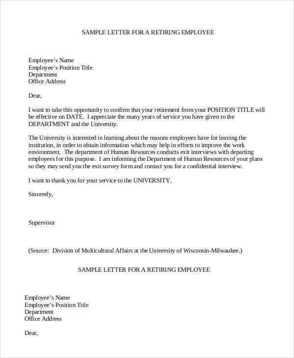 Retirement Letter  7 Free PDF Documents Dpwnload  Free
