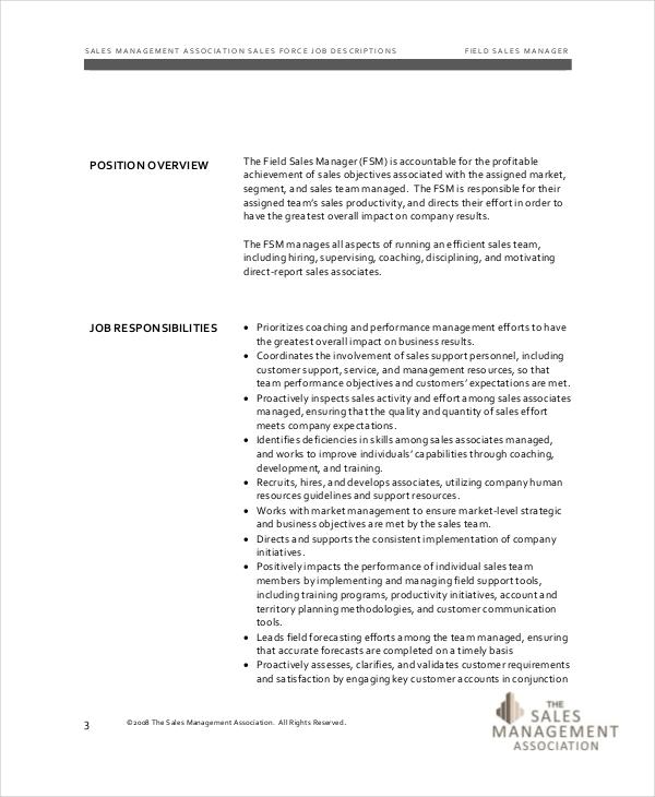 Sales manager job duties resume