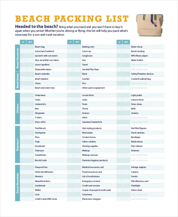 Travel Packing List 10 Free Word Pdf Psd Documents Download Free Premium Templates